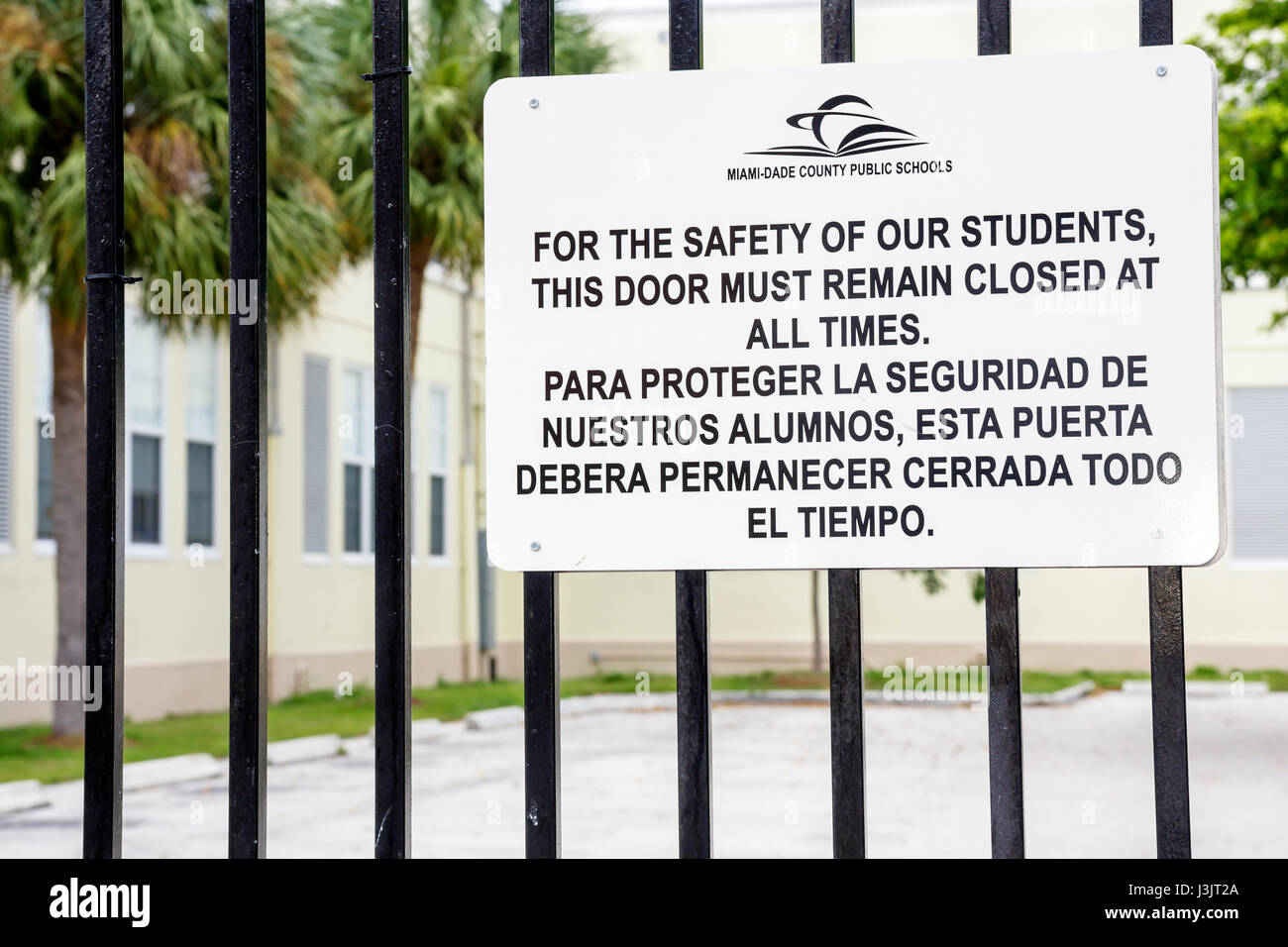 Miami Beach Florida public school sign student safety closed door policy bilingual sign Spanish language gate  sc 1 st  Alamy & Closed Door Policy Stock Photos u0026 Closed Door Policy Stock Images ...