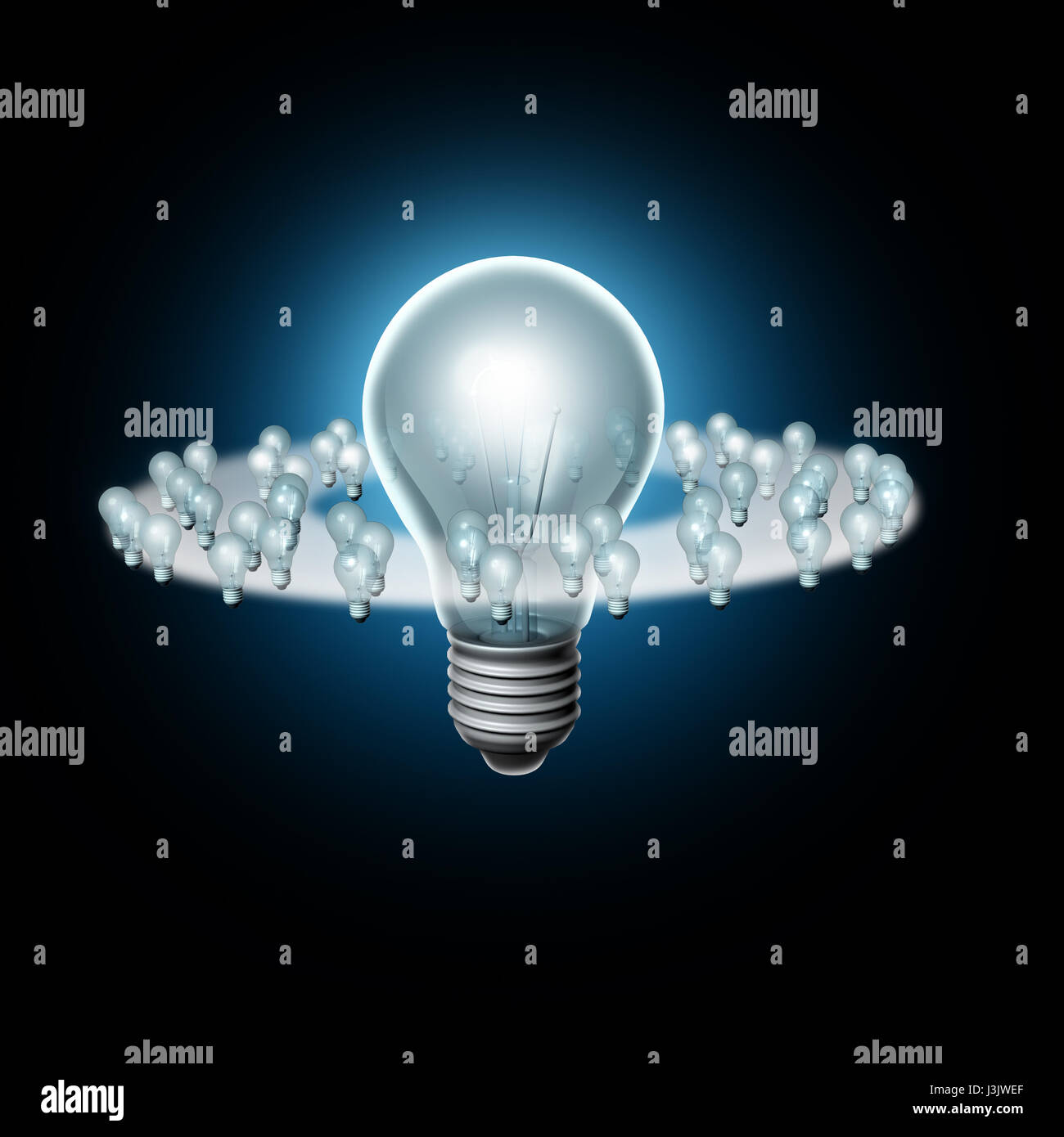 Following a big idea and creative trendsetter or trend setter influence concept as a business marketing metaphor - Stock Image