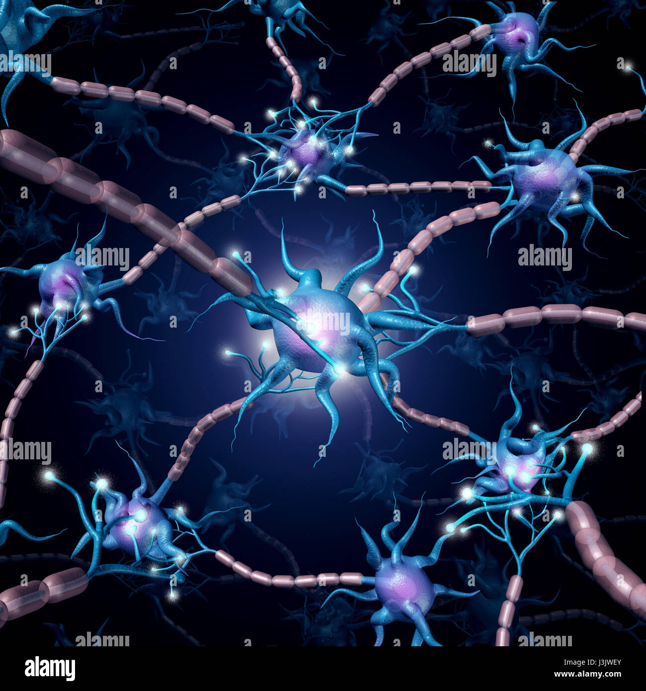 Neuron active cells as a group of neurons communicating with one another as a mental health or neurology concept. - Stock Image