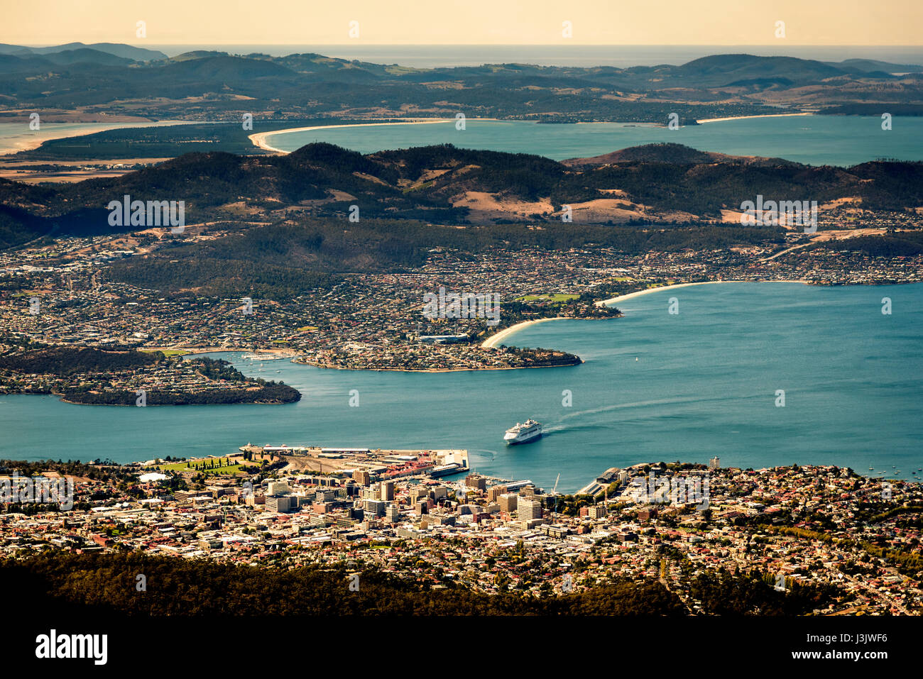 View from the top of mt Wellington to Hobart - Stock Image