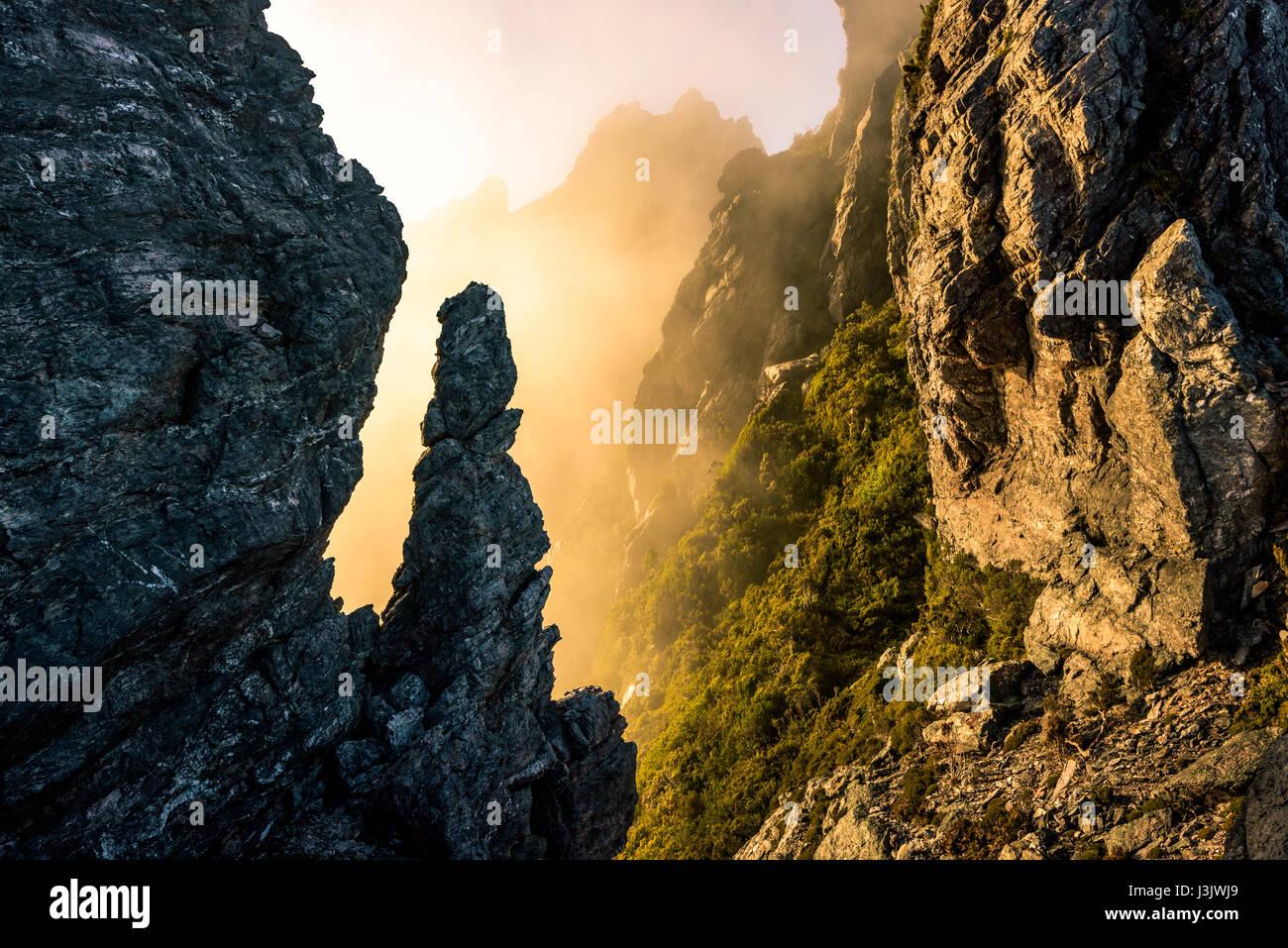 Mount Hayes in Western Arthur's Range, Southwest Tasmania - Stock Image