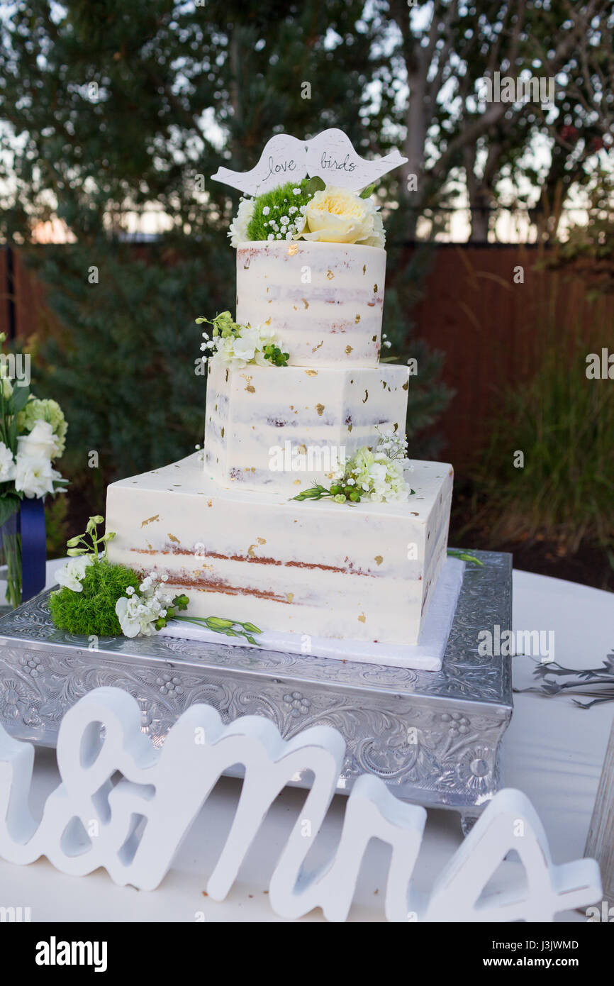 Wedding Cake with Gold Flakes - Stock Image