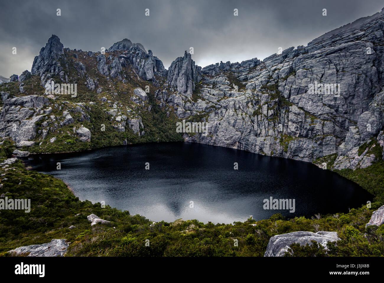 Square Lake in Western Arthur's Range, Southwest Tasmania - Stock Image