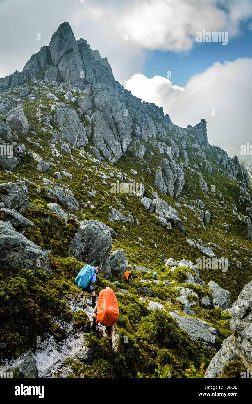 Approaching mount Hayes in Western Arthur's Range, Southwest Tasmania - Stock Image