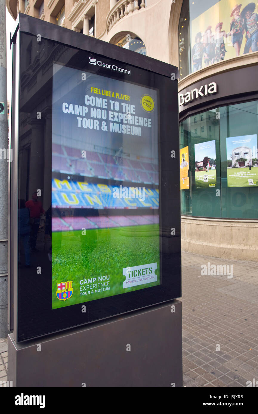 Clear Channel street billboard for Camp Nou stadium tours in Barcelona Spain ES EU - Stock Image