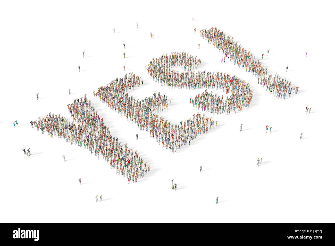 Large and diverse group of people gathered together in the shape of the word yes - Stock Image
