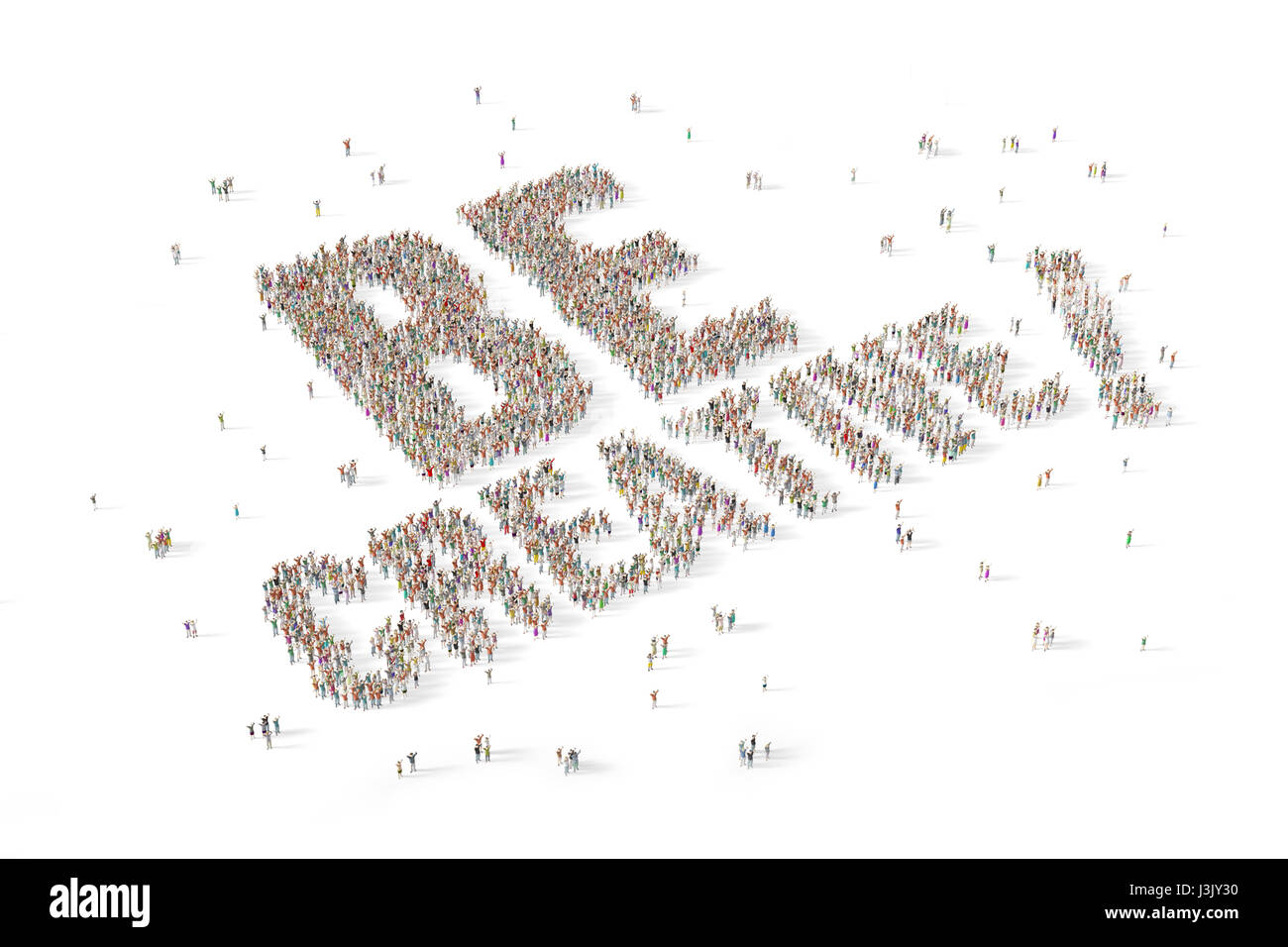 Large and diverse group of people gathered together in the shape of the word be creative - Stock Image