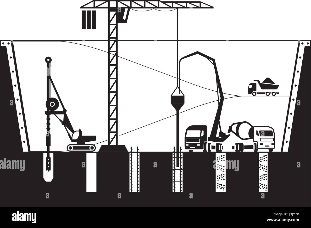 Construction of foundations of a building - vector illustration - Stock Vector