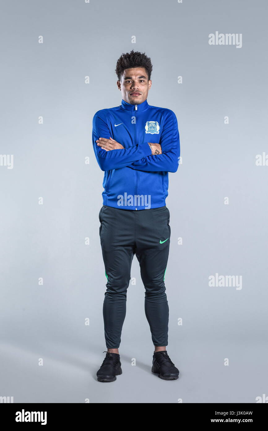 Portrait of Brazilian soccer player Junior Urso of Guangzhou R&F F.C. for the 2017 Chinese Football Association Stock Photo
