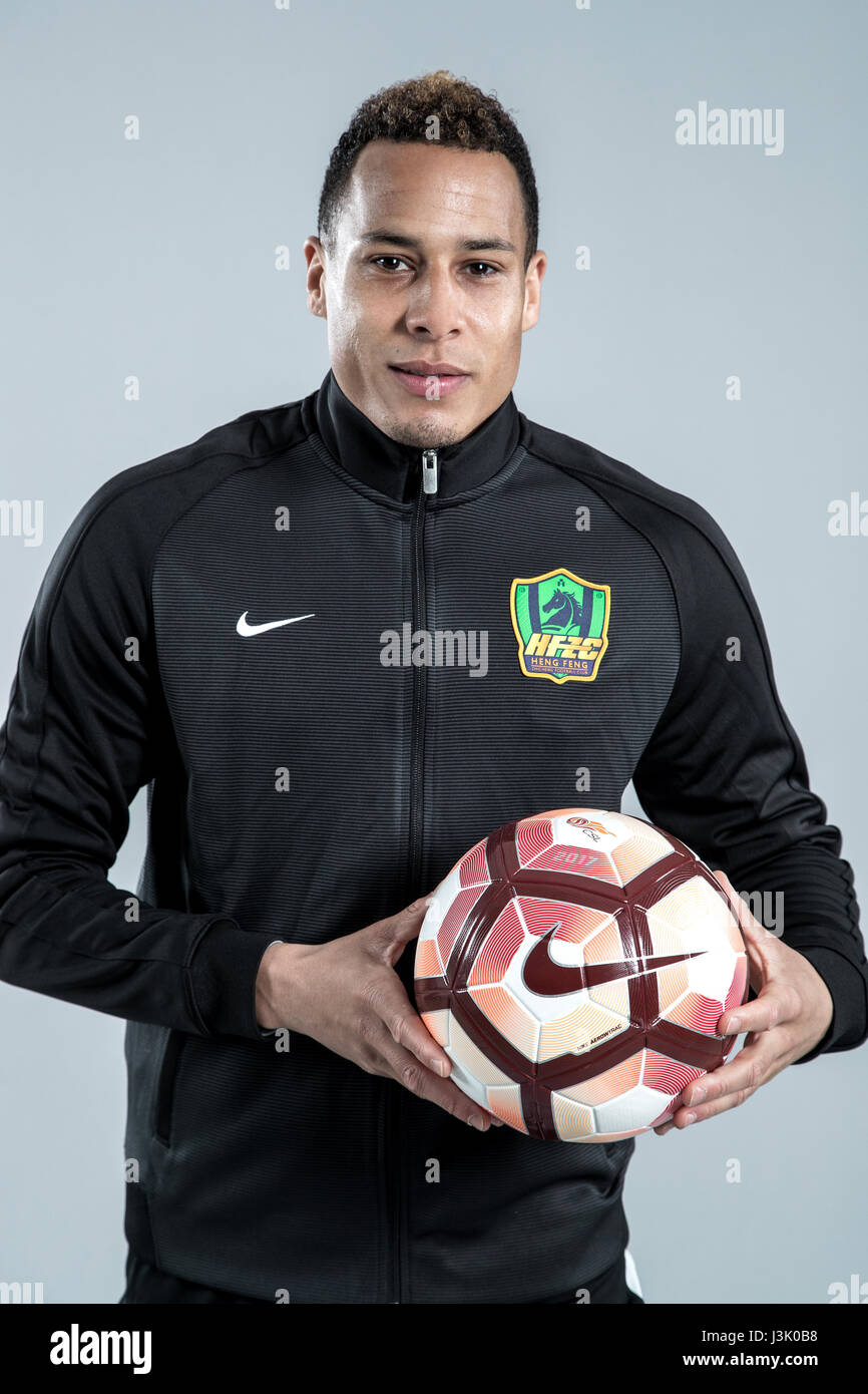 Portrait of Dutch soccer player Tjaronn Chery of Guizhou Hengfeng Zhicheng F.C. for the 2017 Chinese Football Association Stock Photo