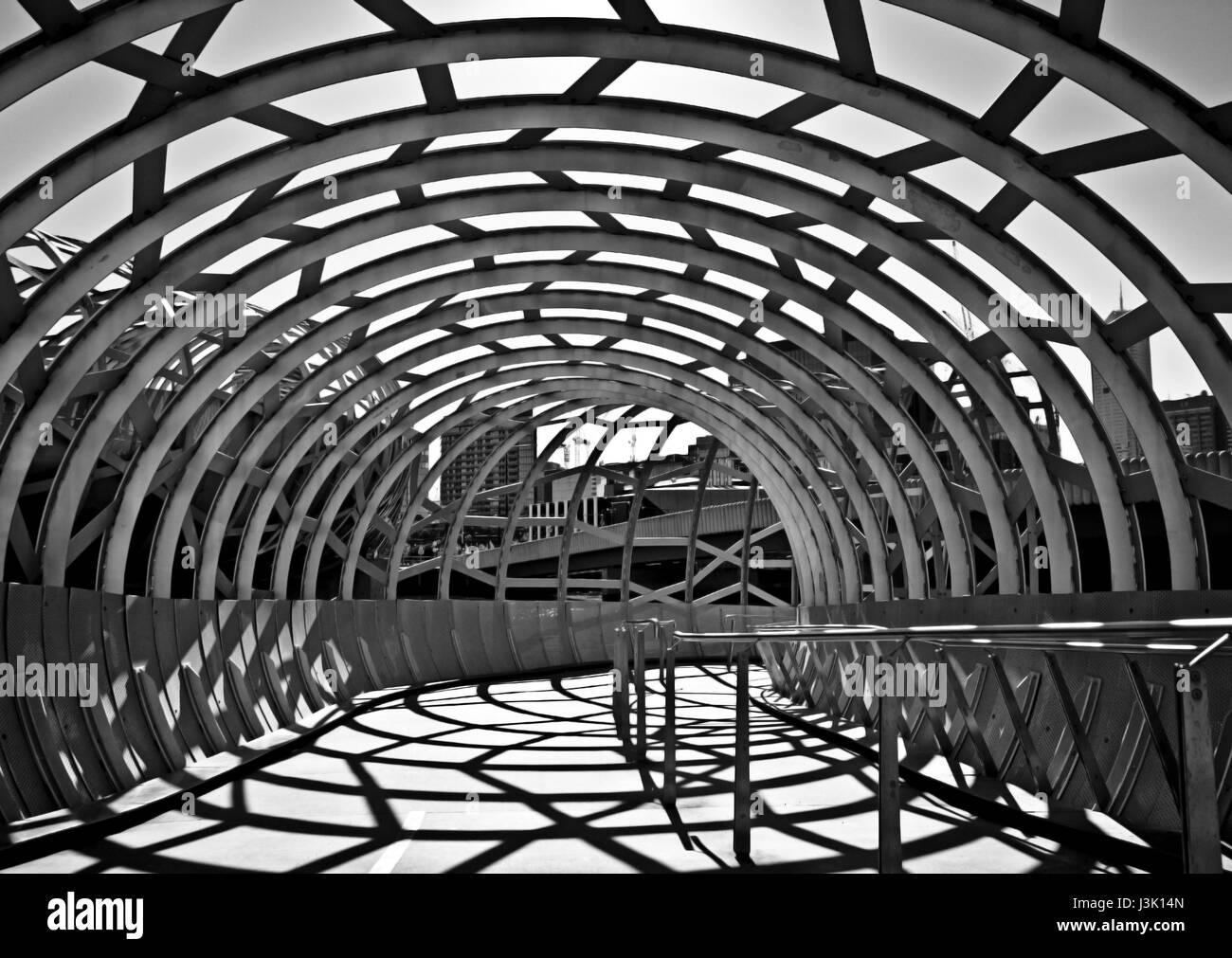 View of the Webb Bridge, Docklands, Melbourne, Australia - Stock Image