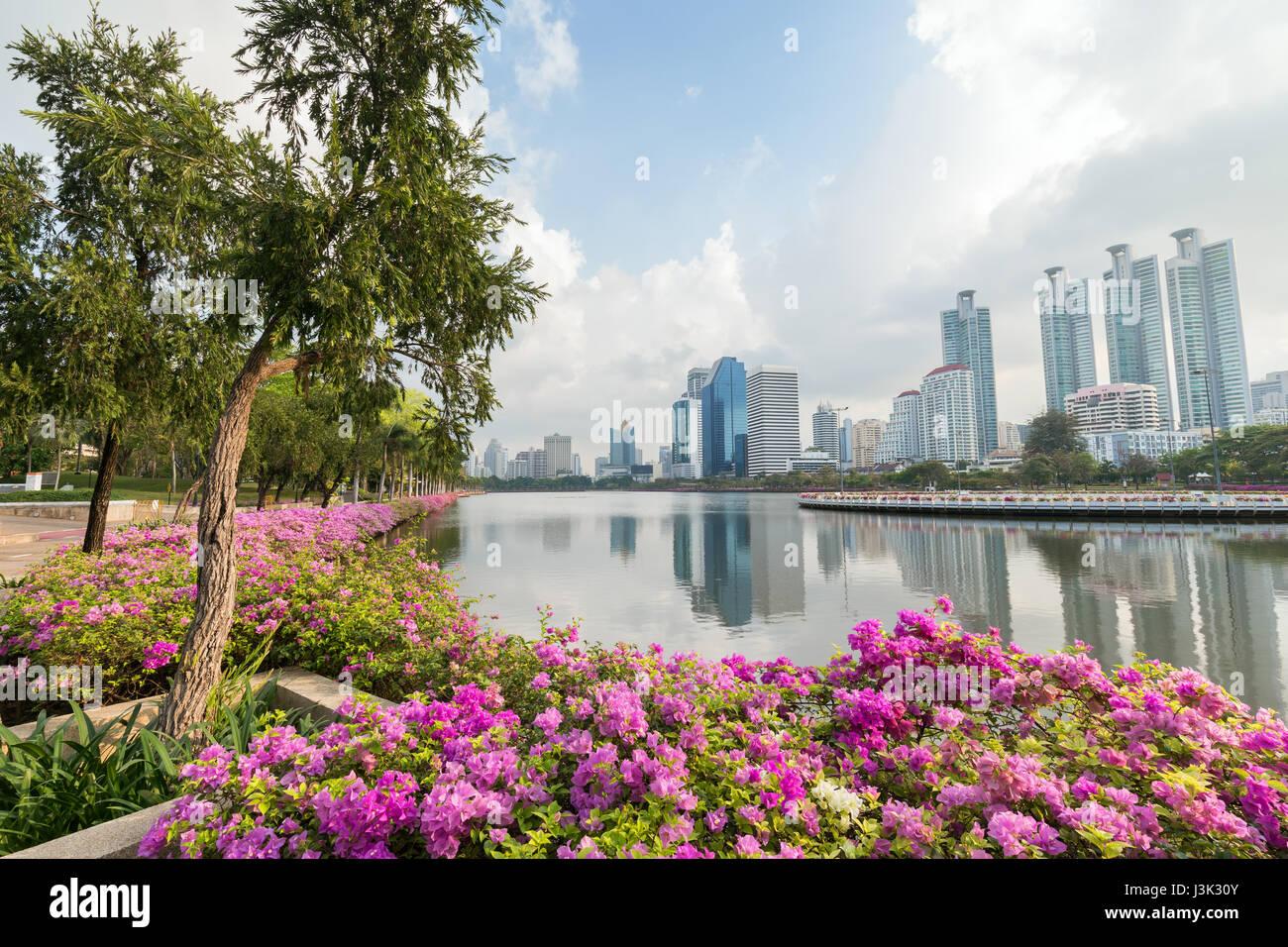 Blooming flowerbeds at the Benjakiti (Benjakitti) Park and modern skyscrapers in Bangkok, Thailand. - Stock Image