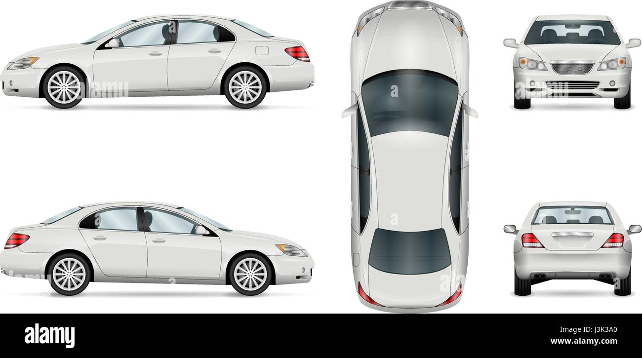 Car vector template on white background. Business sedan isolated ...