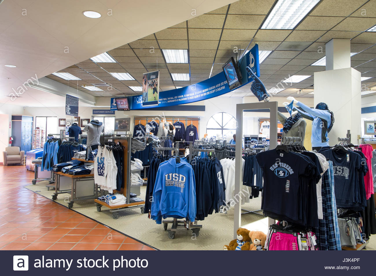 Apparel On Display In The University Of San Diego Torero Bookstore