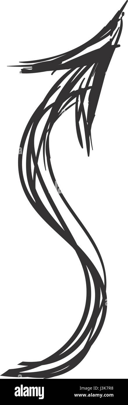 Arrow scribble isolated - Stock Image