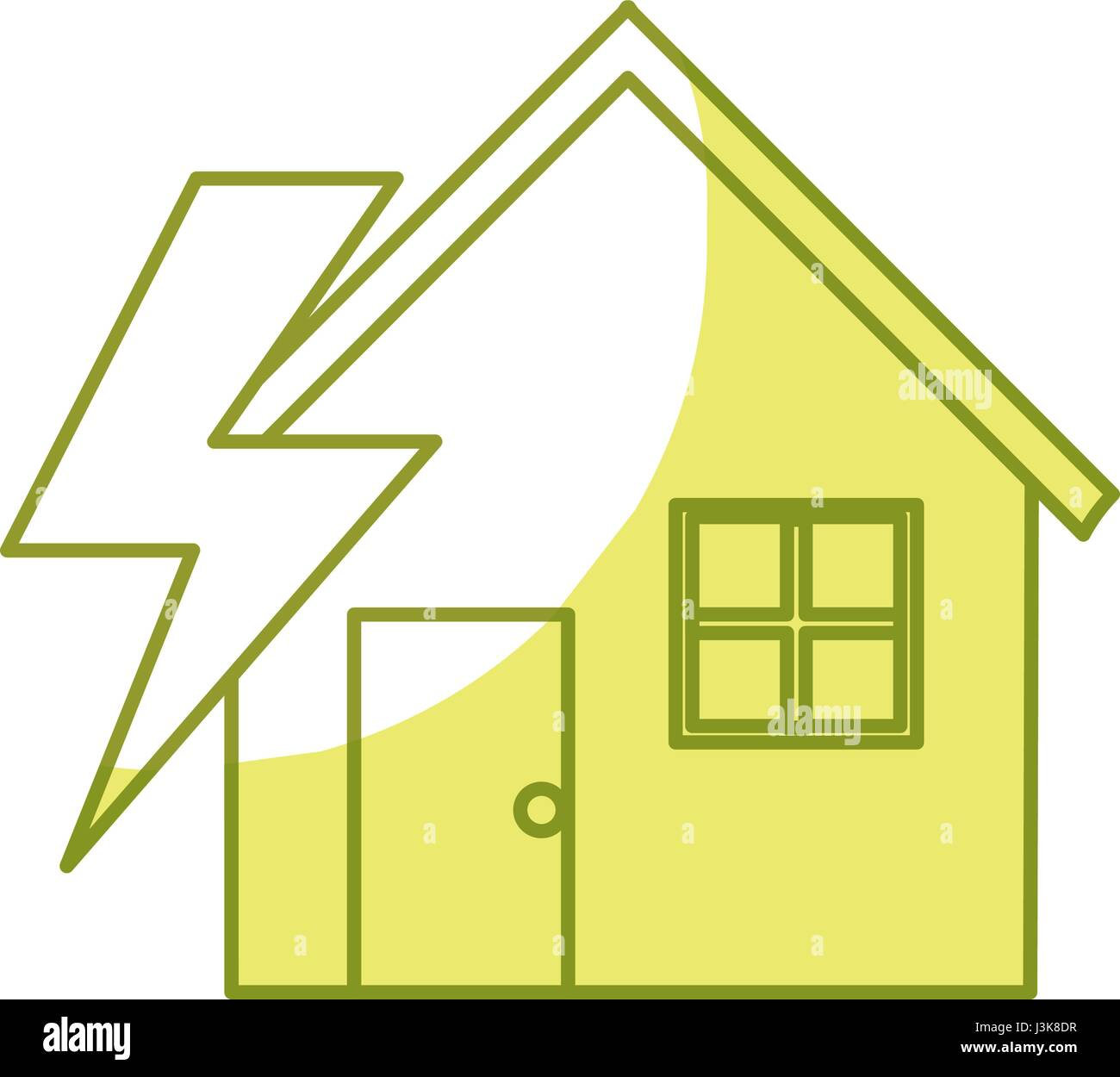 house with energy symbol to care environment - Stock Image