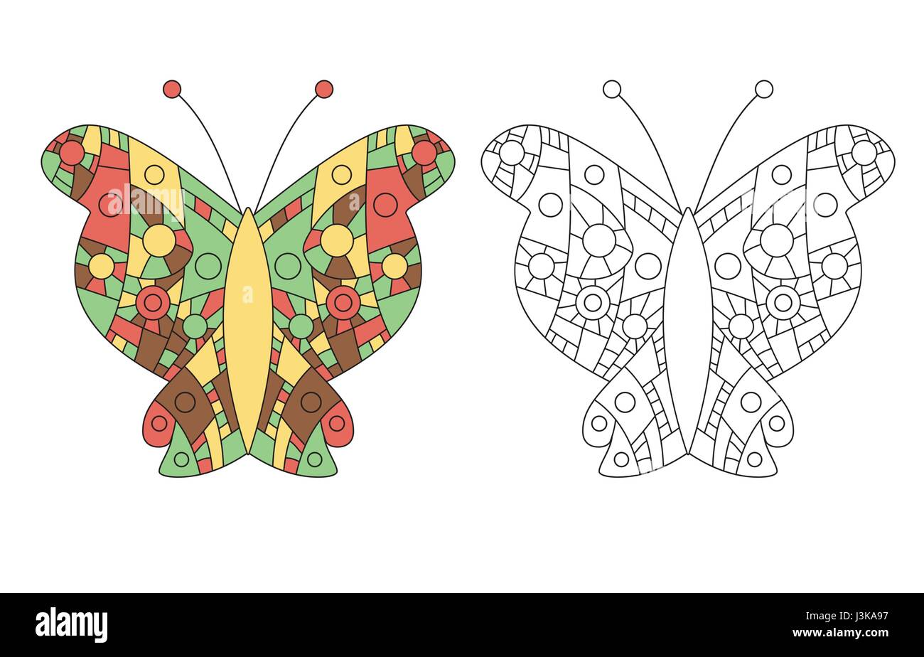 Coloring Page For Adult Zentangle Anti Stress Drawing Butterfly Colored And Outlined Templates Vector Illustration