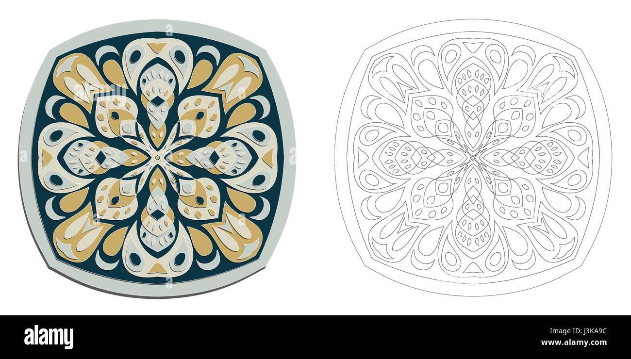 floral mandala oriental motif creative fantasy vector illustration primitive anti stress coloring drawing east inspiration colorful mosaic