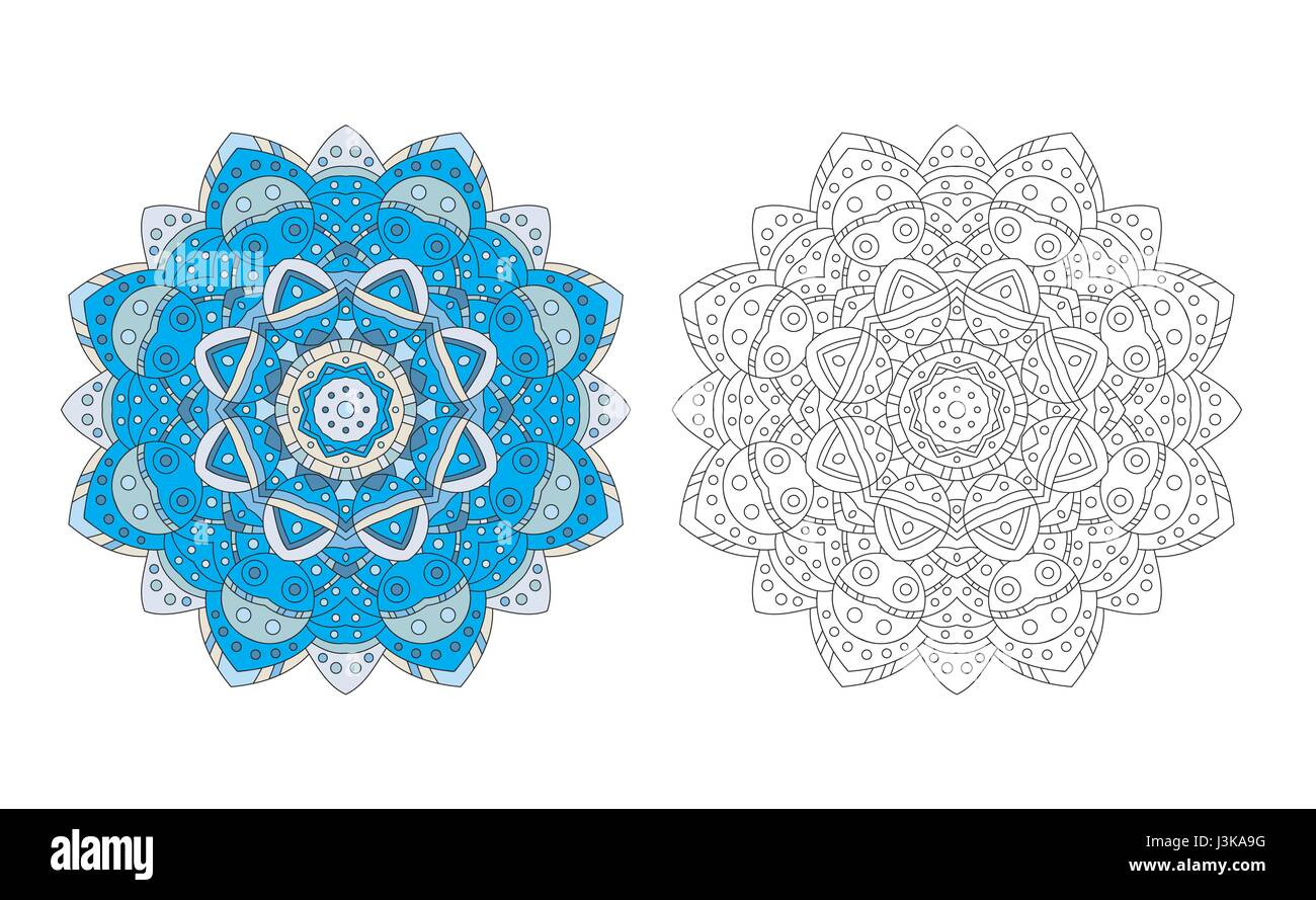Mandala Zentangle Coloring Page Antistress Adult Drawing Absract Flower Pattern Vector Illustration Relax Template