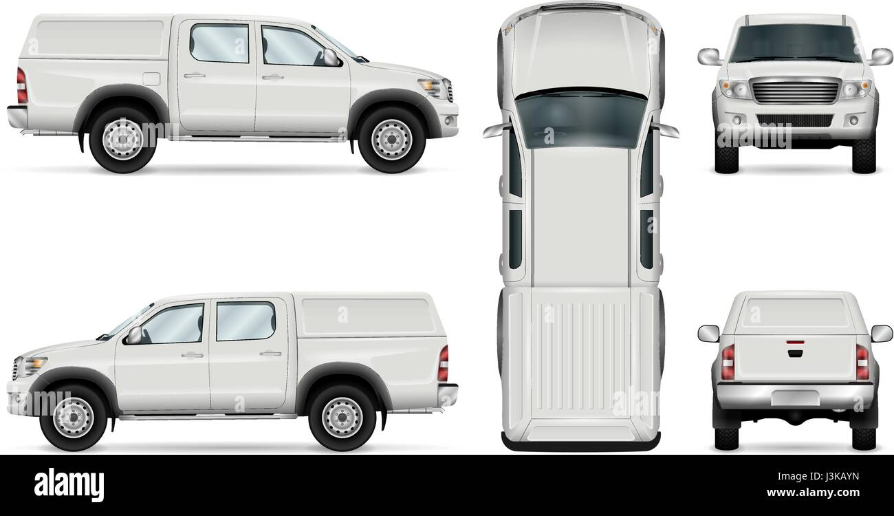 Pickup Truck Vector Template For Car Branding And