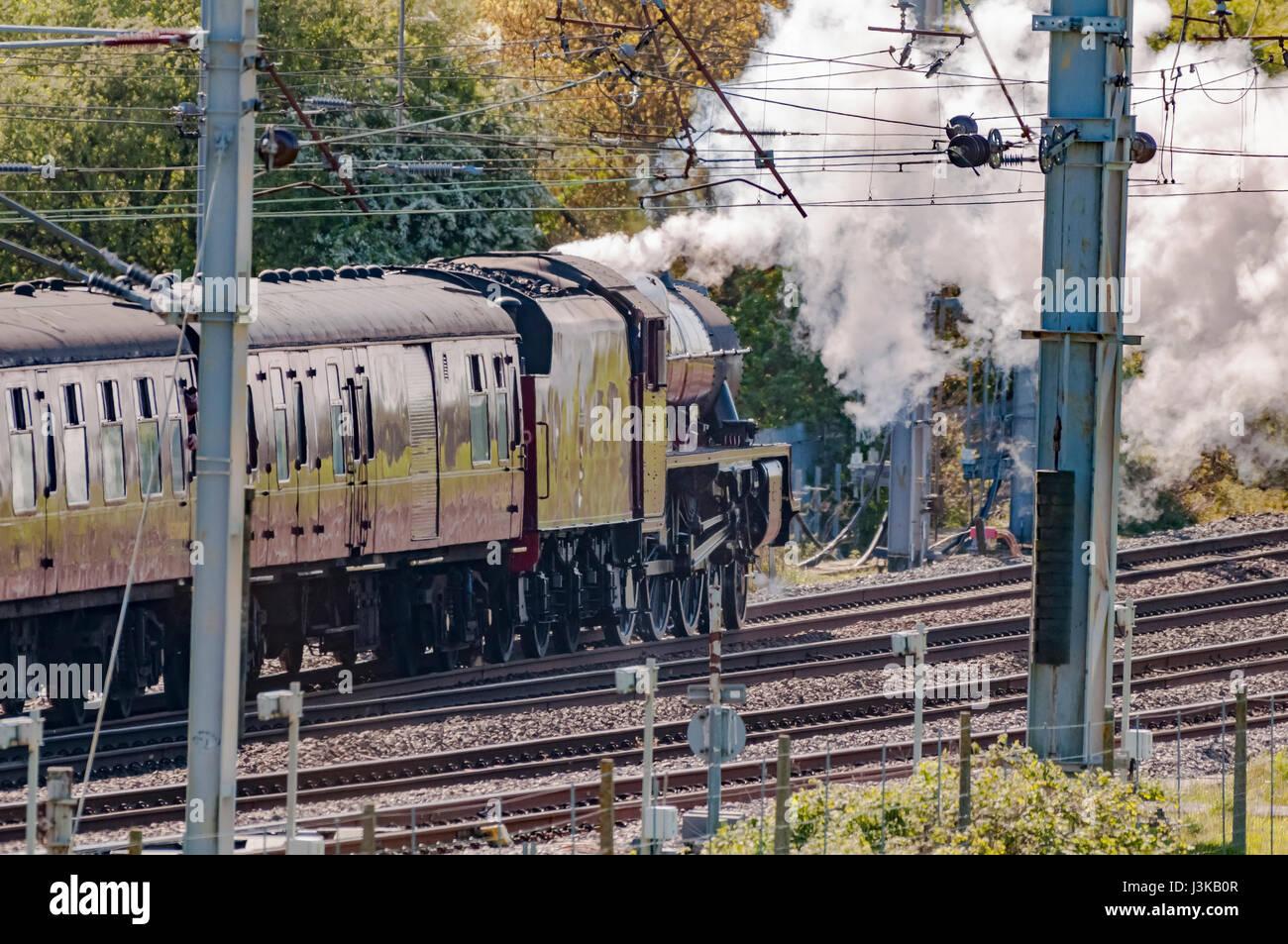 Warrington.United Kingdom.05 May 2017. LMS Jubilee Class 6P 4-6-0 no 45699 Galatea hauling the Great Britain X steam Stock Photo