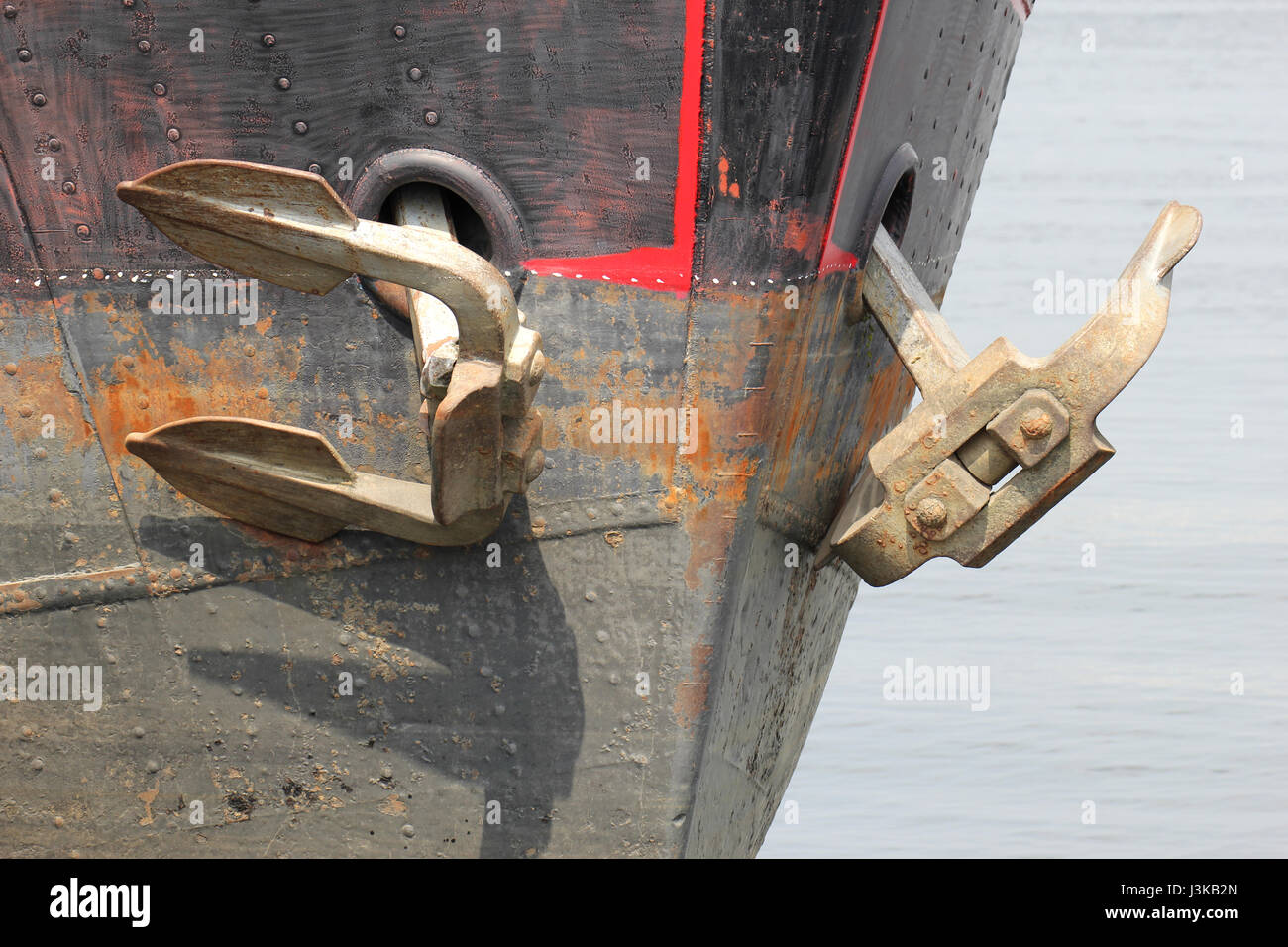 anchors of an inland cargo vessel - Stock Image