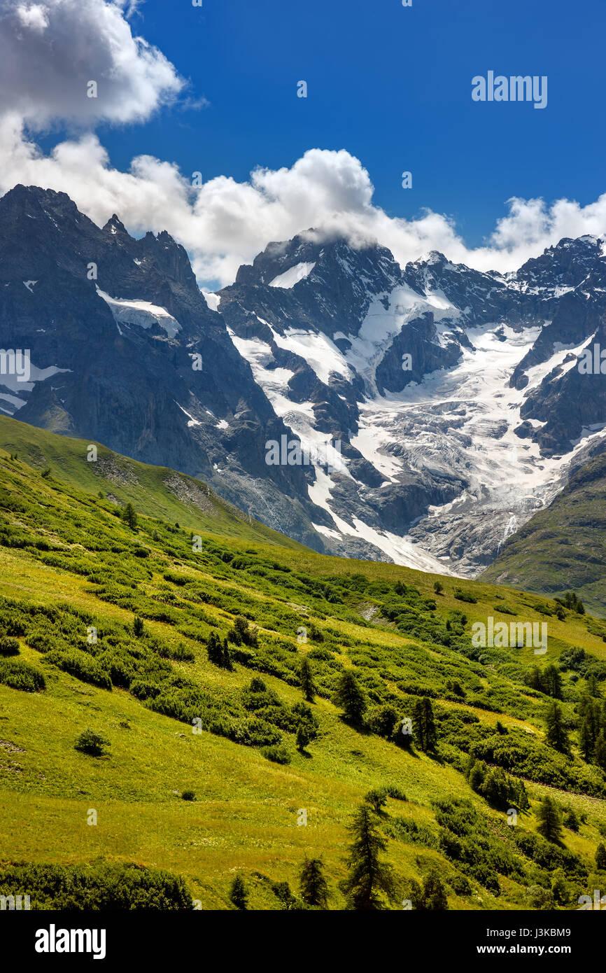 Ecrins National Parc mountain peaks and glaciers in summer. La Meije glacier, Glacier du Lautaret and Glacier de - Stock Image