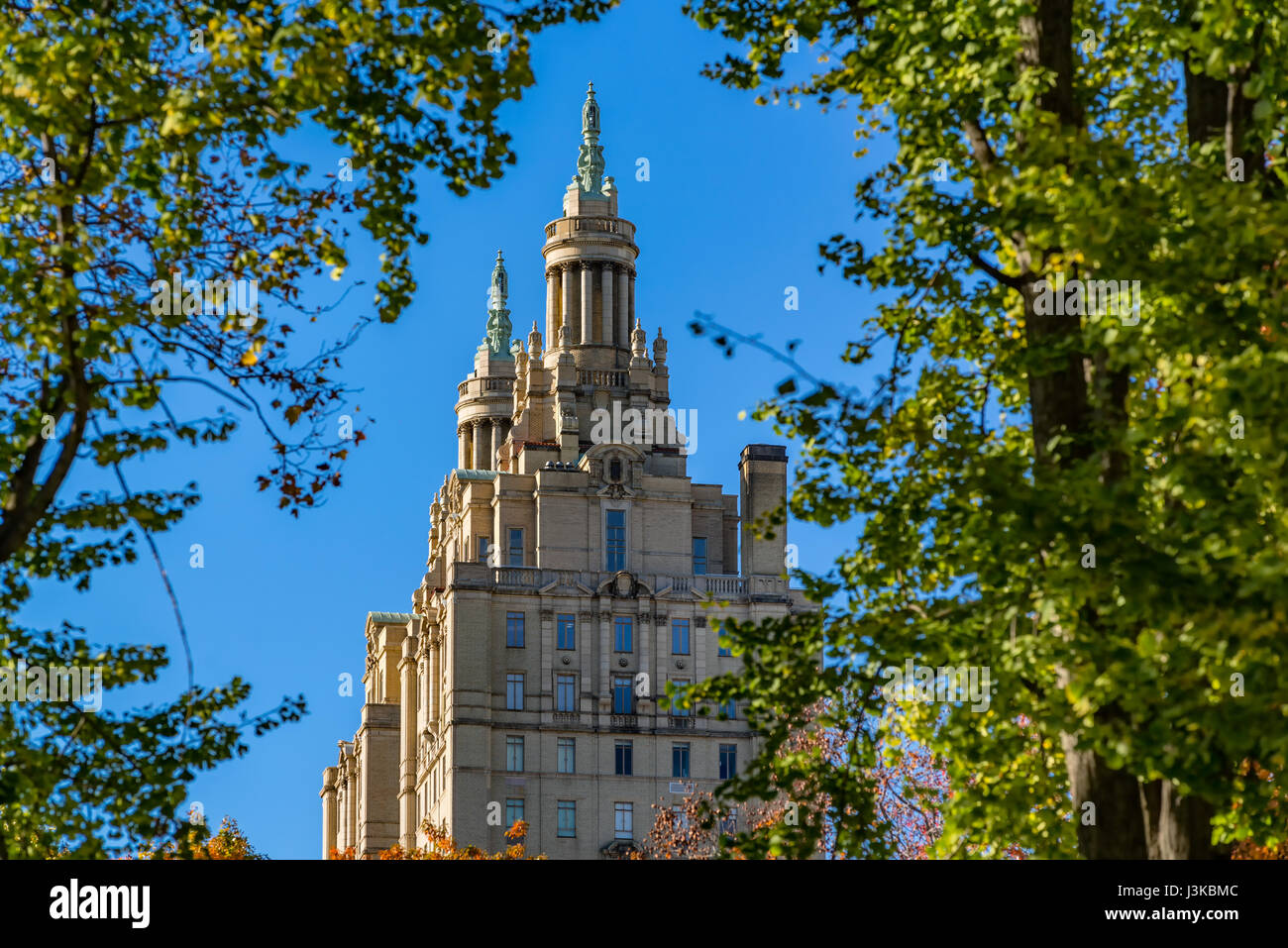The towers of the San Remo building in Upper West Side. Manhattan, New York City - Stock Image