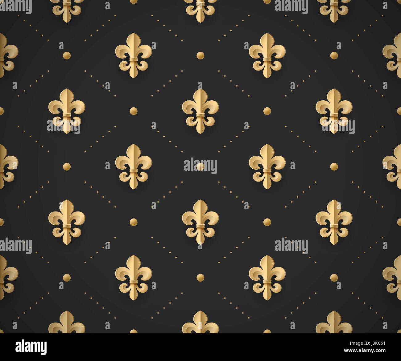 seamless gold pattern with fleur de lys on a dark black background