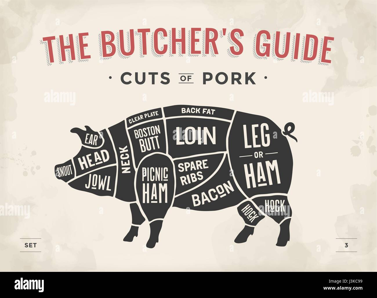 cut of meat set poster butcher diagram scheme and guide pork vintage J3KC99 butcher pig illustration stock photos & butcher pig illustration