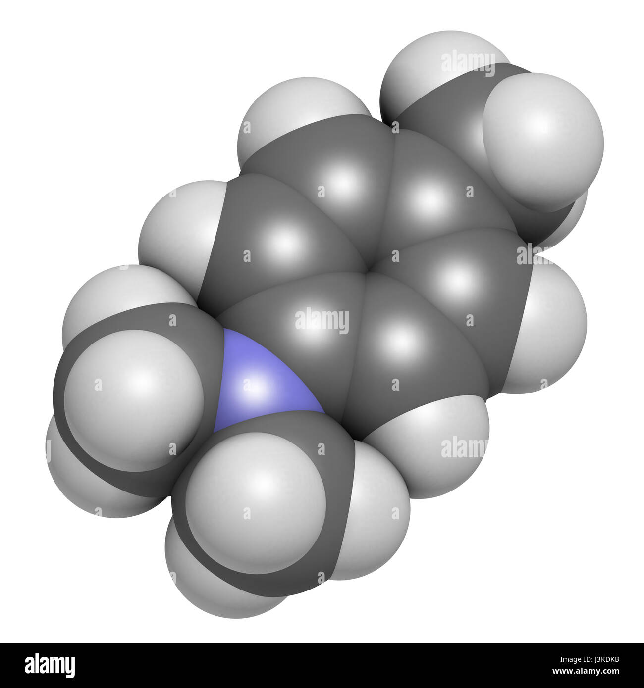 N,N-dimethyl-p-toluidine (DMPT) molecule. Commonly used as catalyst in the production of polymers and in dental - Stock Image
