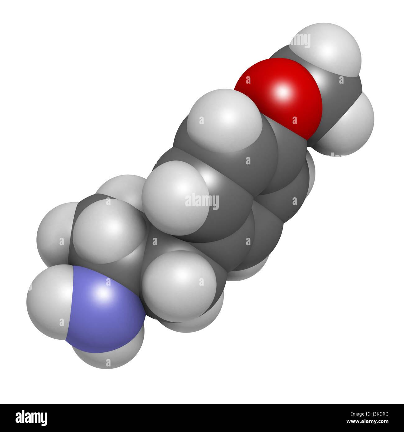 p-methoxyamphetamine (PMA) hallucinogenic drug molecule. Frequently leads to lethal poisoning when mistaken for - Stock Image