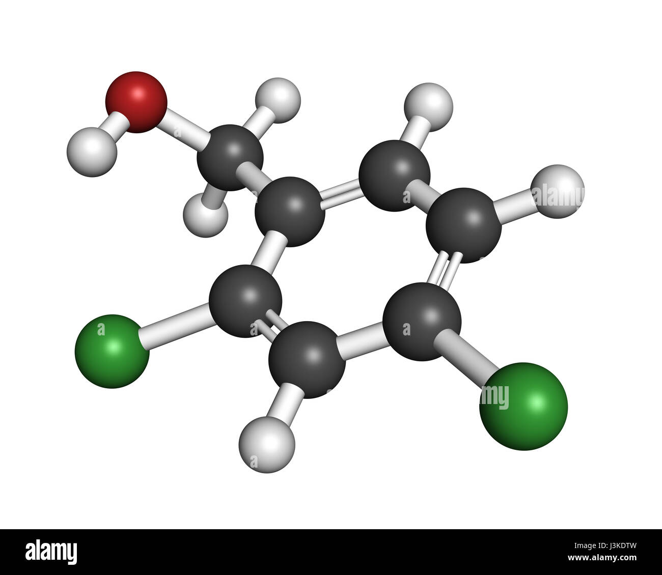 2,4-dichlorobenzyl alcohol antiseptic drug molecule. Used in lozenges to treat sore throat. Atoms are represented - Stock Image