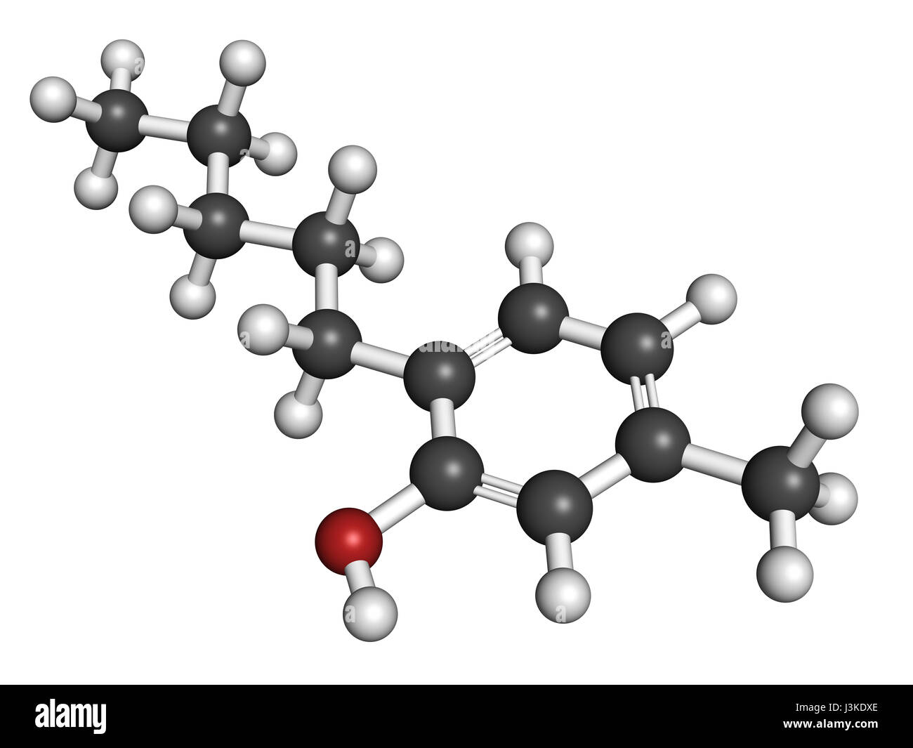 Amylmetacresol antiseptic drug molecule. Used in lozenges to treat sore throat. Atoms are represented as spheres - Stock Image