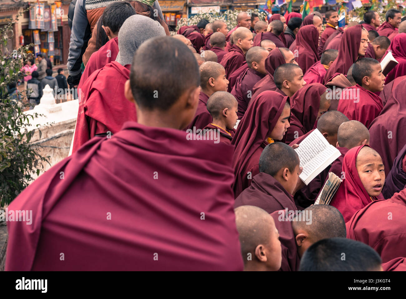 Traditional ceremony at boudhanath, Nepal - Stock Image