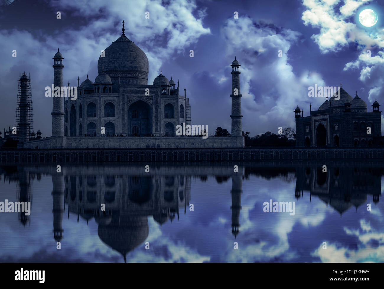 Taj Mahal Agra in moon light effect. Taj Mahal is a white marble mausoleum built by Mughal emperor Shah Jahan on - Stock Image