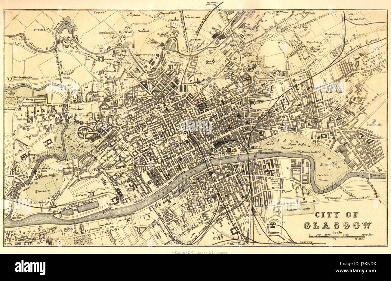 Edinburgh Glasgow town plans SCOTLAND HARMSWORTH 1920 old vintage map chart