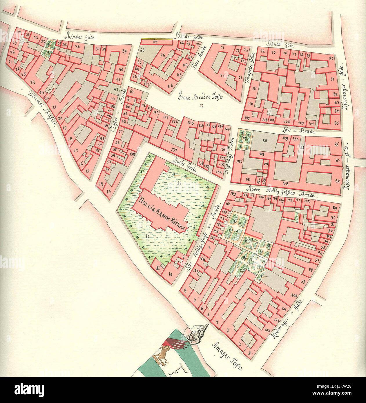 Helligaandskirken Copenhagen map Gedde 1757 - Stock Image