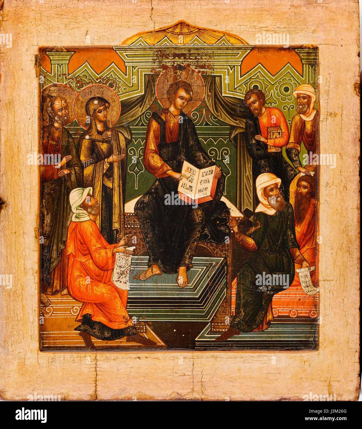 Icon of Jesus among the Doctors (Mstera, c. 1800) - Stock Image