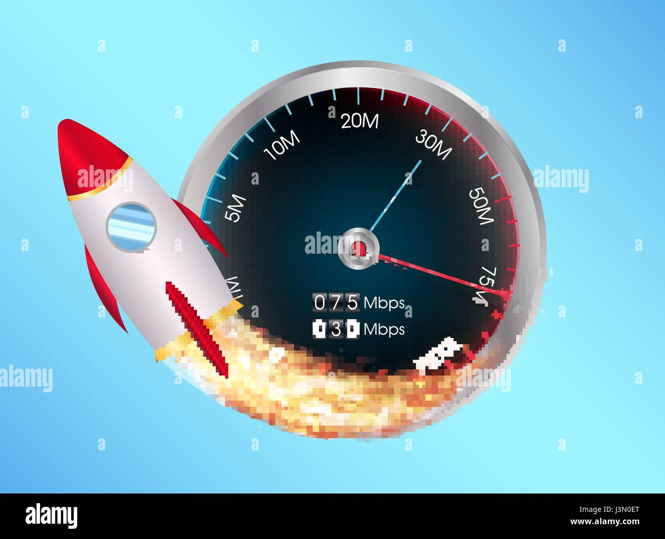 Fast internet speed test meter with toy space rocket stock vector fast internet speed test meter with toy space rocket stopboris