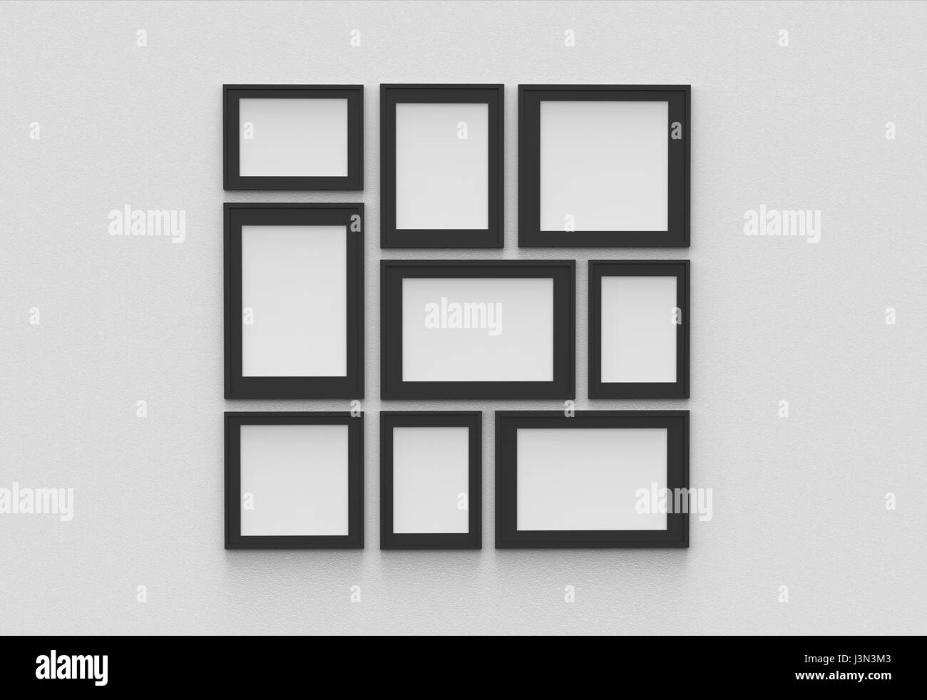 Picture frame isolated on white drywall background. 3D illustrated ...