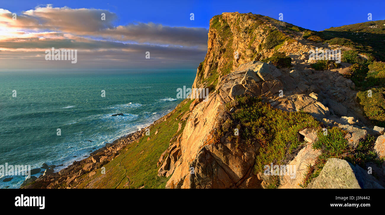 'The end of Eurasia': Panorama of Cape Roca - Stock Image