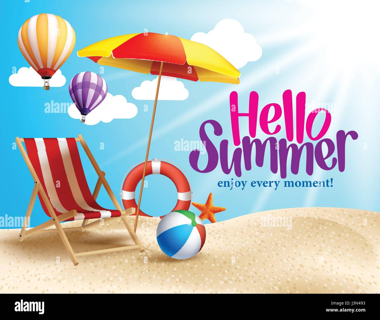 summer beach vector design in the seashore with beach umbrella and