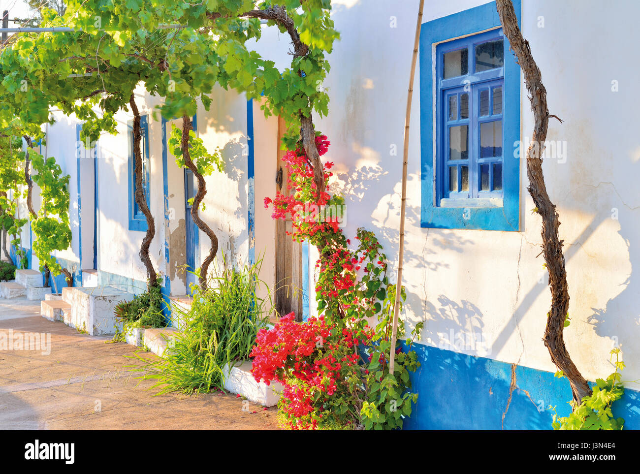 Picturesque rural house with blue window frames and flowers decorating the doors - Stock Image