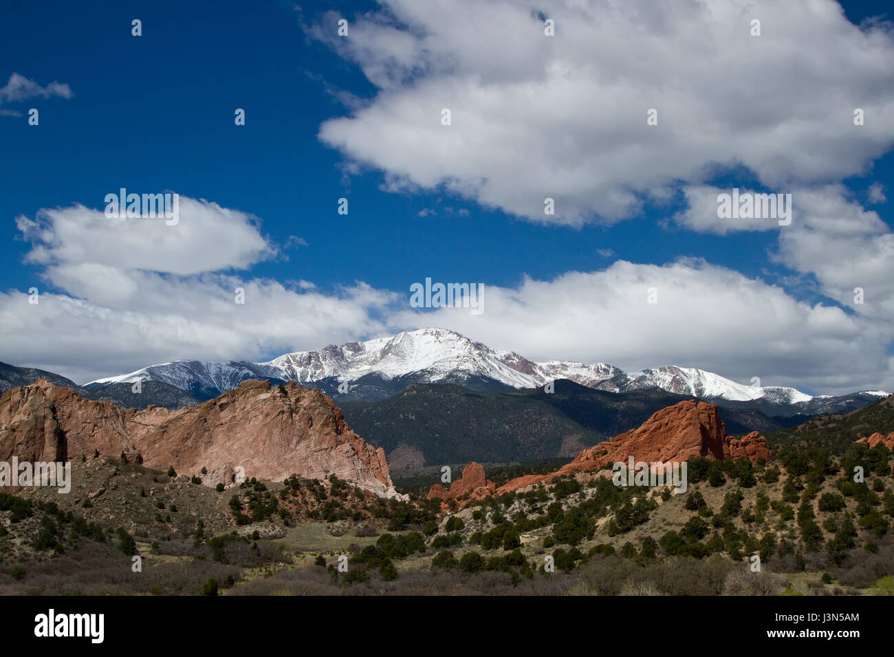 Pikes Peak and Garden of the Gods on a Spring or summer Day