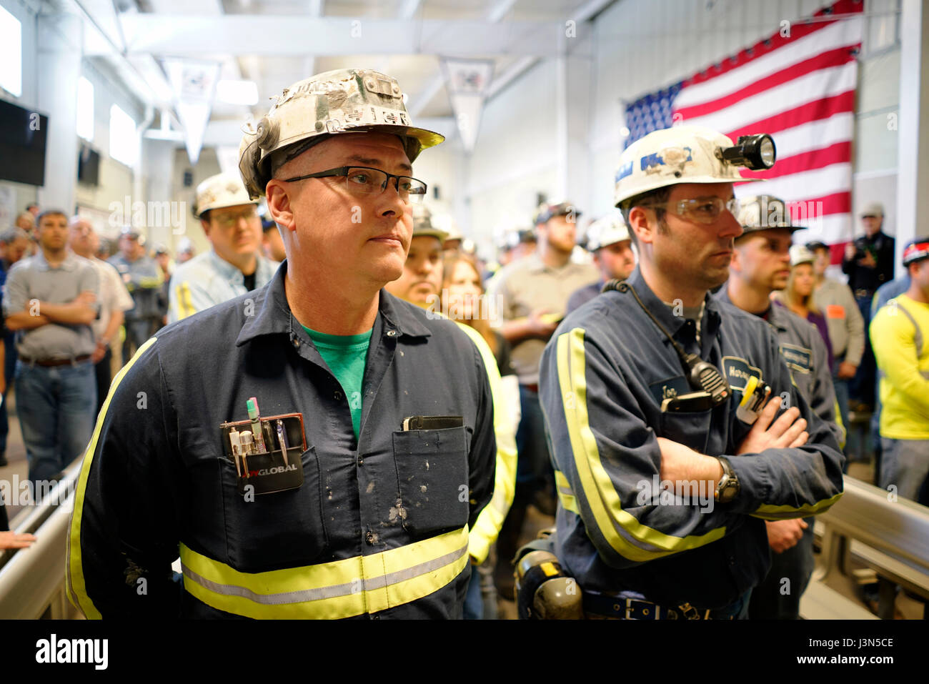 Coal miners at the Harvey Mine owned by Consol Energy listen to U.S. Environmental Protection Agency Administrator Stock Photo