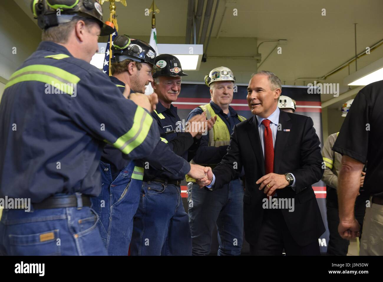 U.S. Environmental Protection Agency Administrator Scott Pruitt, right, greets coal miners at the Harvey Mine April Stock Photo