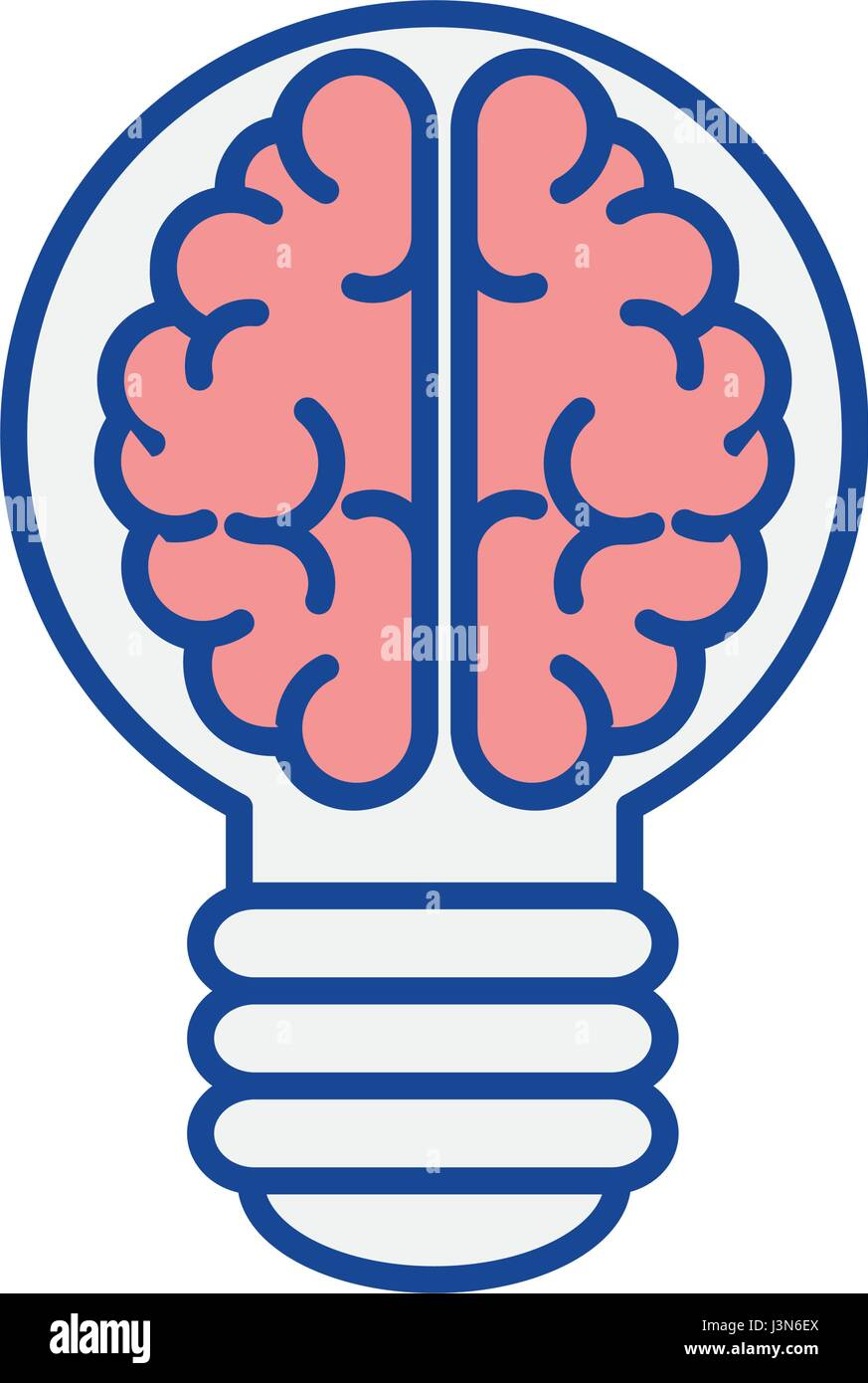 brain bulb icon - Stock Image
