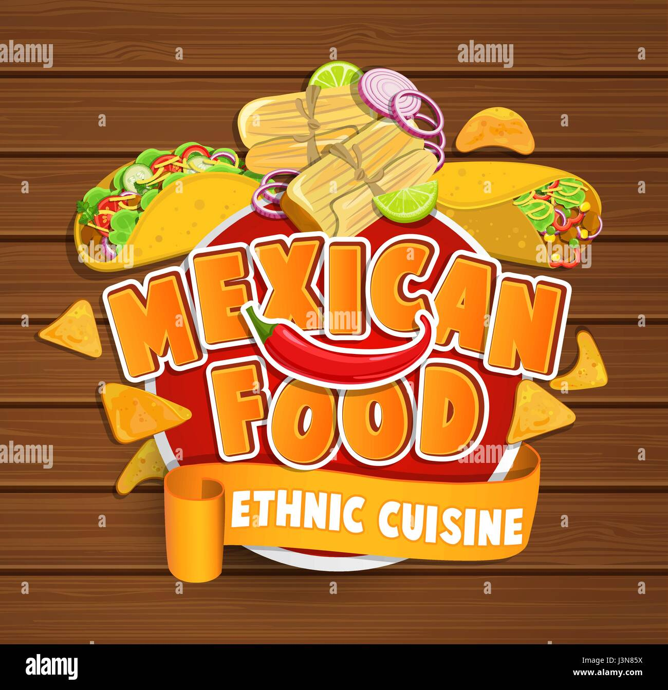 Mexican food logo, food label or sticker  Concept of ethnic