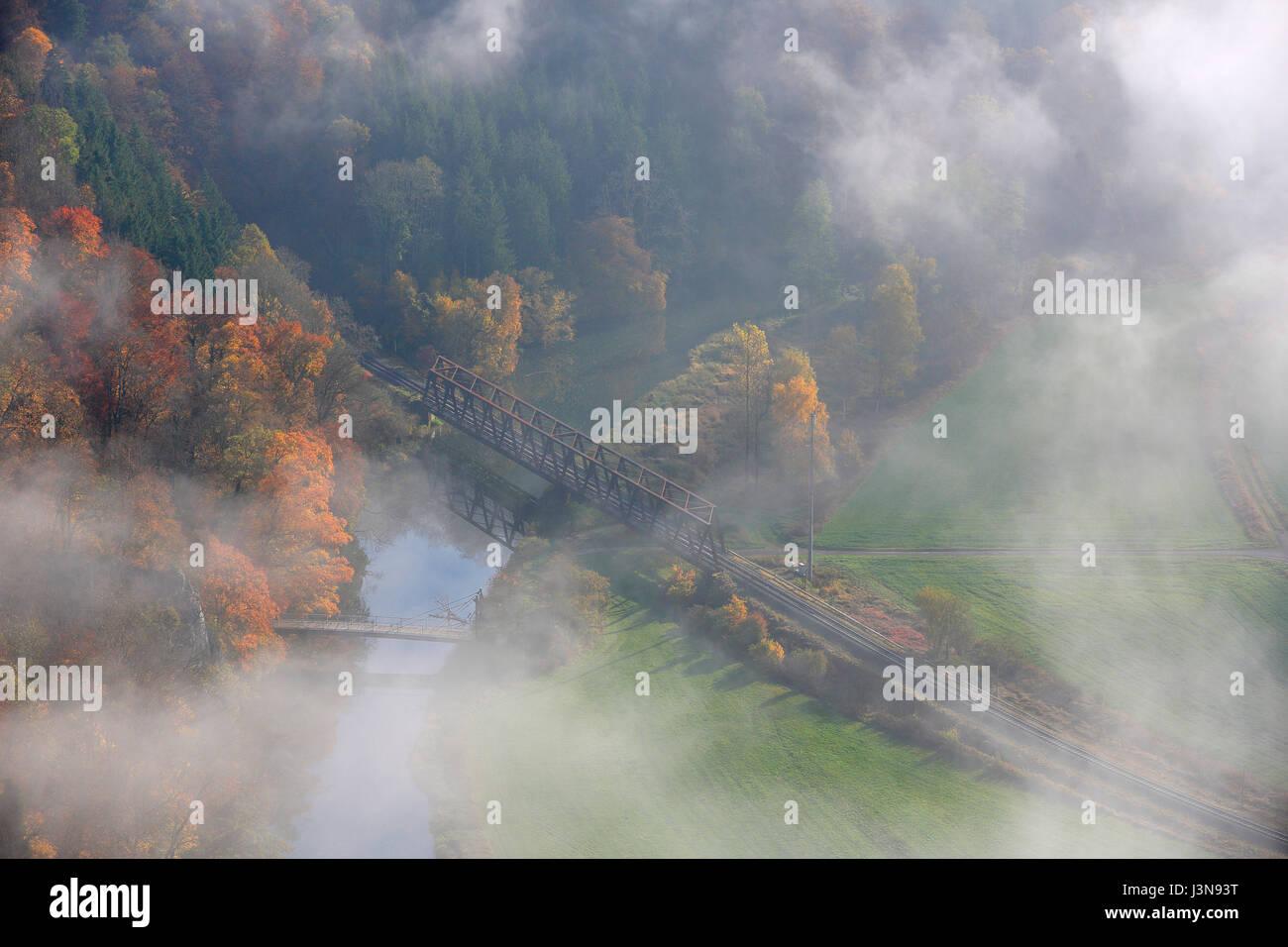 Donau, Eisenbahnbruecke, Stahlbruecke, Dietfurt, Naturpark Obere Donau, Baden-Wuerttemberg, Deutschland, Europa Stock Photo